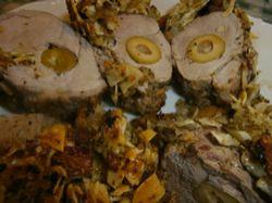 Recept: Vepřová panenka plněná olivami v mandlovo-sýrovém kabátku